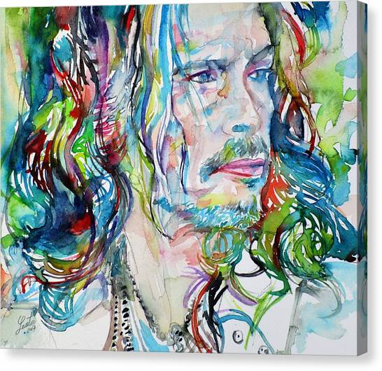 Aerosmith Canvas Print - Steven Tyler - Watercolor Portrait by Fabrizio Cassetta