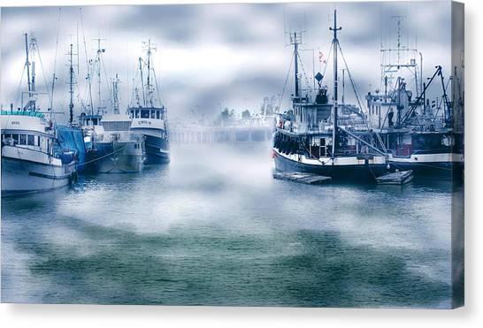 Steveston In Morning Fog Canvas Print
