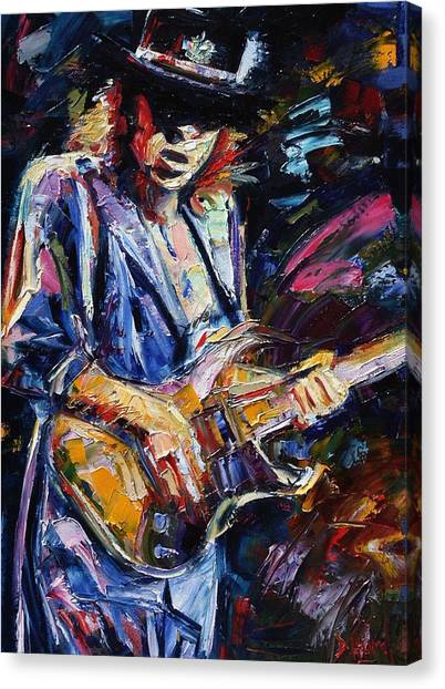 Ray Canvas Print - Stevie Ray Vaughan by Debra Hurd