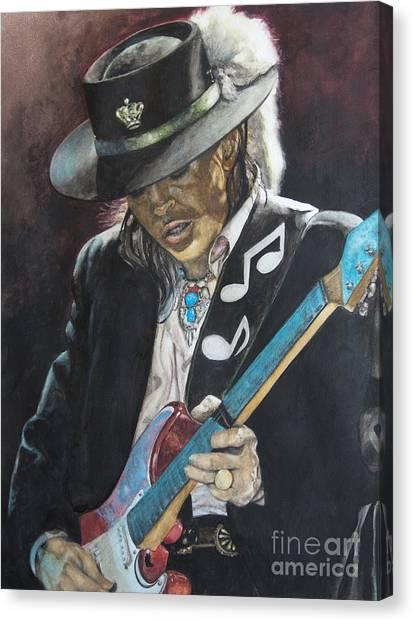 Fender Guitars Canvas Print - Stevie Ray Vaughan  by Lance Gebhardt