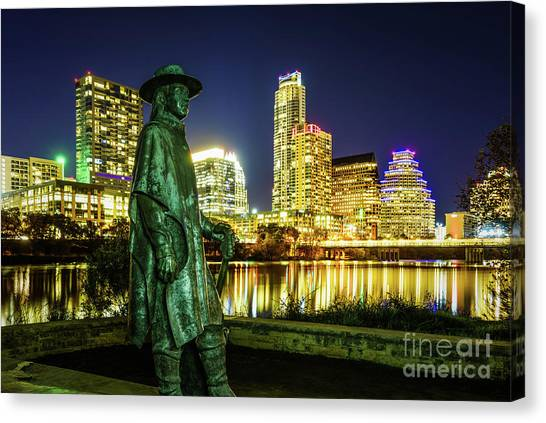 Austin Texas Canvas Print - Stevie Ray Vaughan Statue With Austin Tx Skyline by Paul Velgos