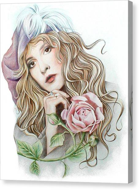 Stevie Nicks Canvas Print - Stevie With Rose by Johanna Pieterman