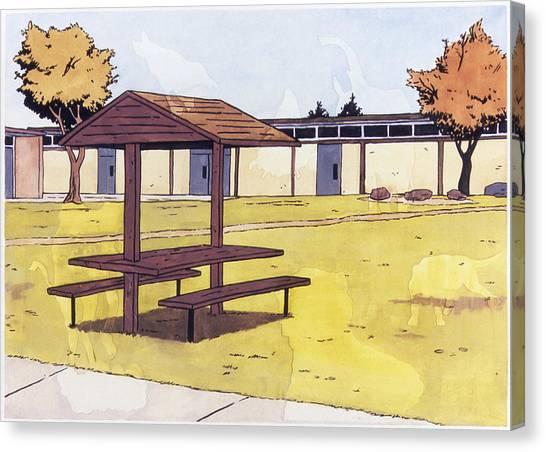 Sticker Landscape 1 Schoolyard Canvas Print by Karl Frey