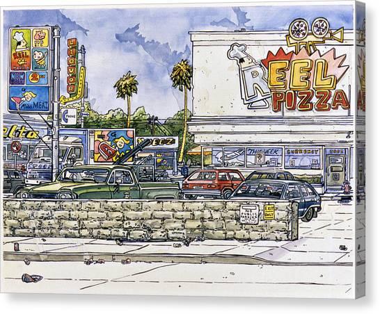 Sticker Landscape 2 Parking Lot Canvas Print by Karl Frey