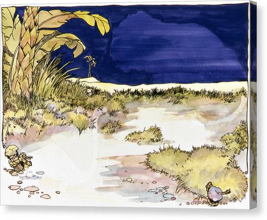 Sticker Landscape 4 Oasis Canvas Print by Karl Frey