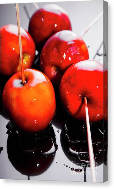 Cooking Canvas Print - Sticky Red Toffee Apple Childhood Treat by Jorgo Photography - Wall Art Gallery