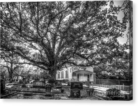 Georgia State University Canvas Print - Still Faithful B W God Bethany Presbyterian Church The Old Oak Tree Greene County Georgia Art by Reid Callaway