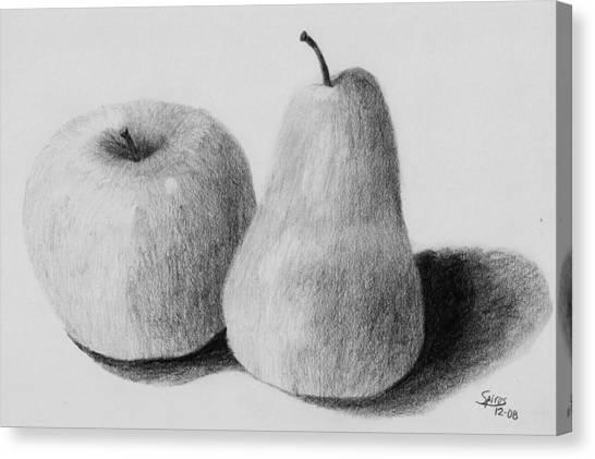 Still Life Apple Pear Canvas Print by Spiros Antonellos