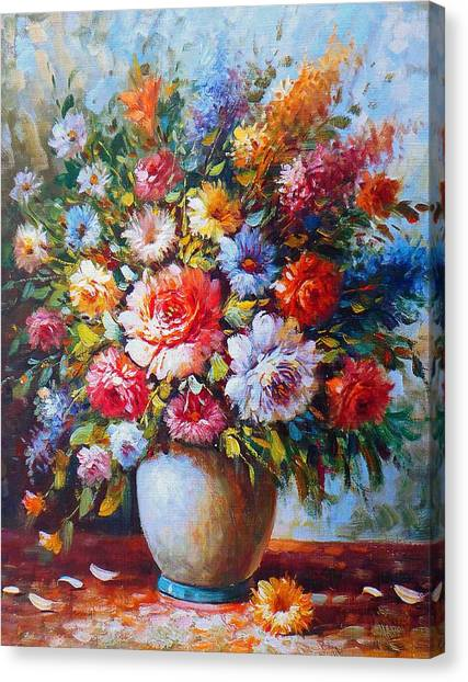 Still Life Colourful Flowers In Bloom Canvas Print