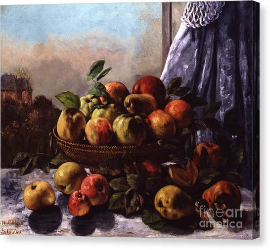 Fruit Baskets Canvas Print - Still Life, Fruit, 1871 by Gustave Courbet