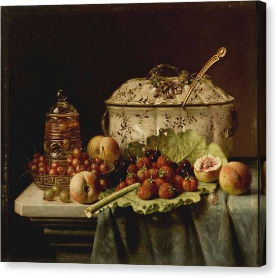 Still Life  Fruit And Dishes  Late 19th Century Oil On Panel Gottfried Schultz  German  1842  1919 Canvas Print