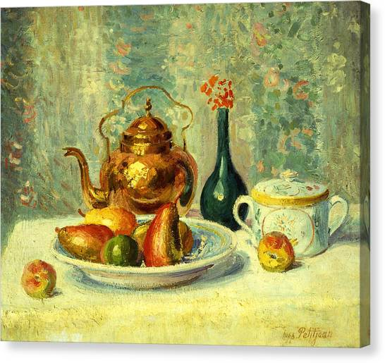 Tea Set Canvas Print - Still Life by Hippolyte Petitjean