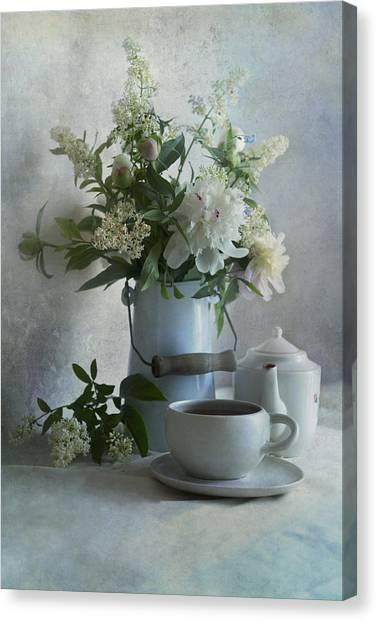 Tea Set Canvas Print - Still Life In Blue Tones by Jaroslaw Blaminsky