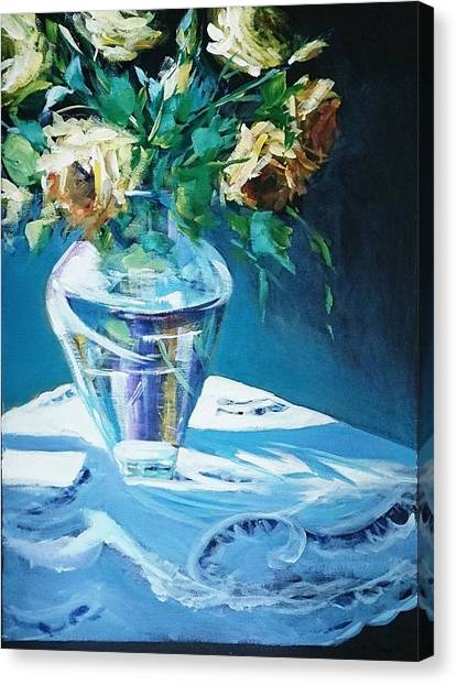 Still Life In Glass Vase Canvas Print