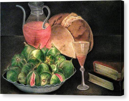 Still Life Of Figs, Wine, Bread And Books Canvas Print