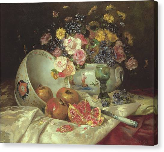 Grenades Canvas Print - Still Life Of Flowers In A Chinese Vase With Pomegranates by Eugene Henri Cauchois