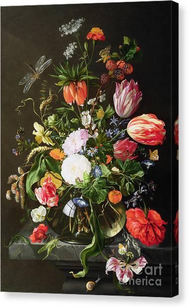 Grasshoppers Canvas Print - Still Life Of Flowers by Jan Davidsz de Heem