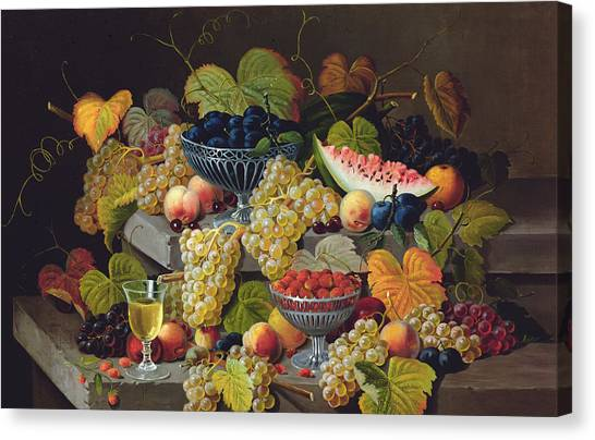 Melons Canvas Print - Still Life Of Melon Plums Grapes Cherries Strawberries On Stone Ledge by Severin Roesen