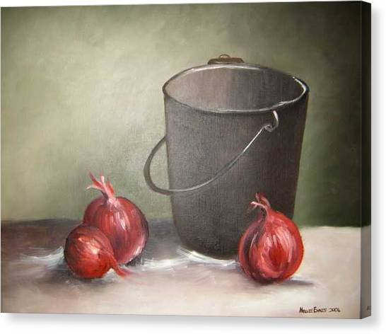 Still Life Onions Canvas Print by Nellie Visser