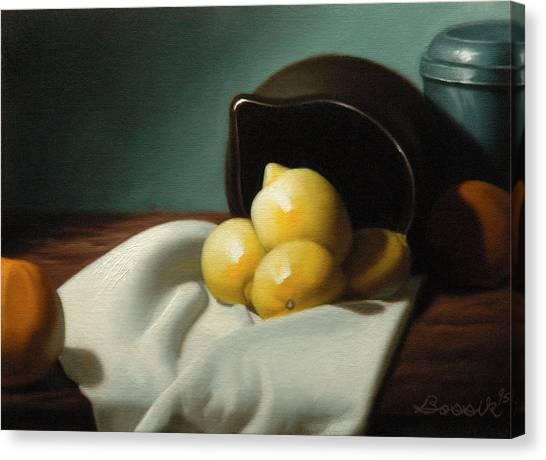 Still Life Painting Three Beauties Canvas Print by Eric Bossik