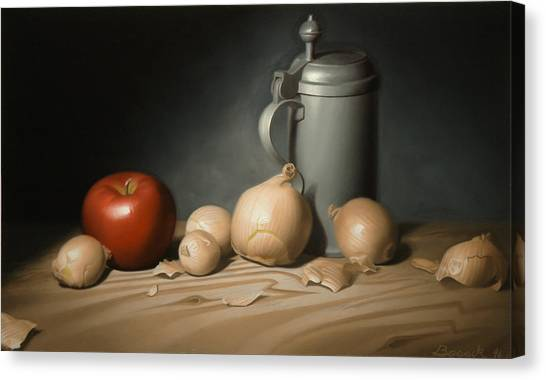 Still Life Painting With Onions Canvas Print by Eric Bossik