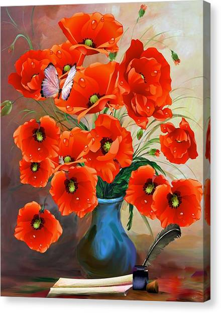 Still Life Poppies Canvas Print