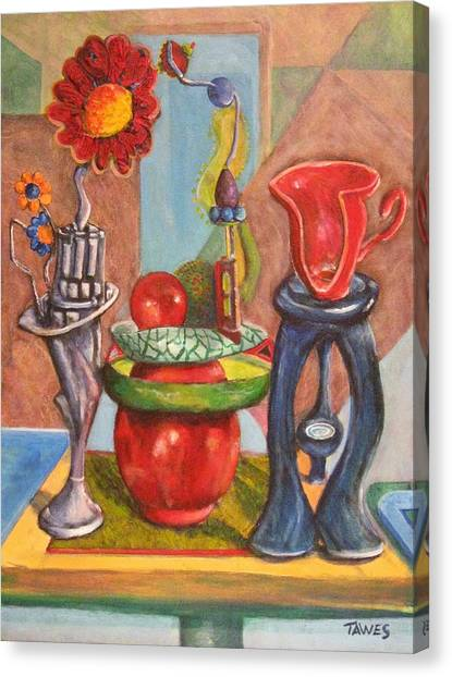 Still Life Reconstructed Canvas Print by Dennis Tawes
