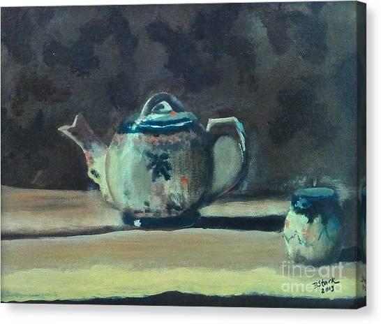 Still Life Teapot And Sugar Bowl Canvas Print