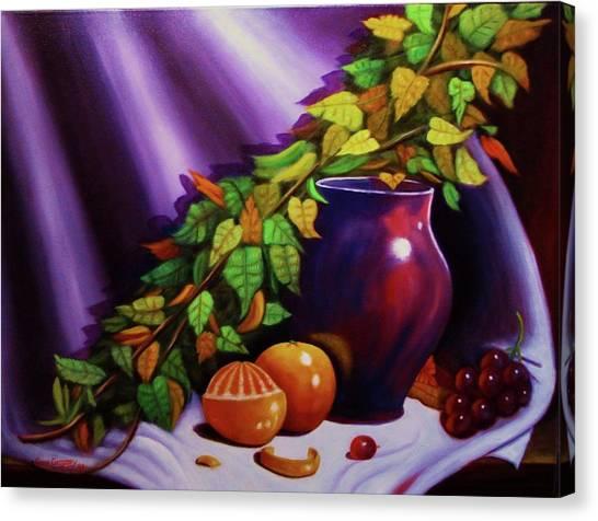 Still Life W/purple Vase Canvas Print