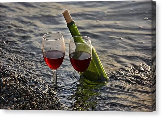 Still Life Wine At The Beach Canvas Print