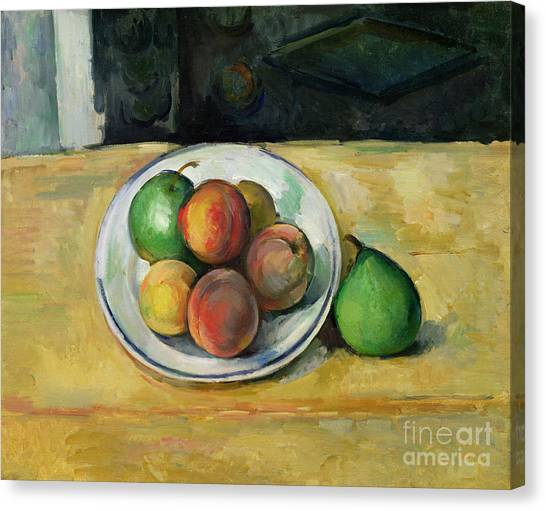 Pear Canvas Print - Still Life With A Peach And Two Green Pears by Paul Cezanne