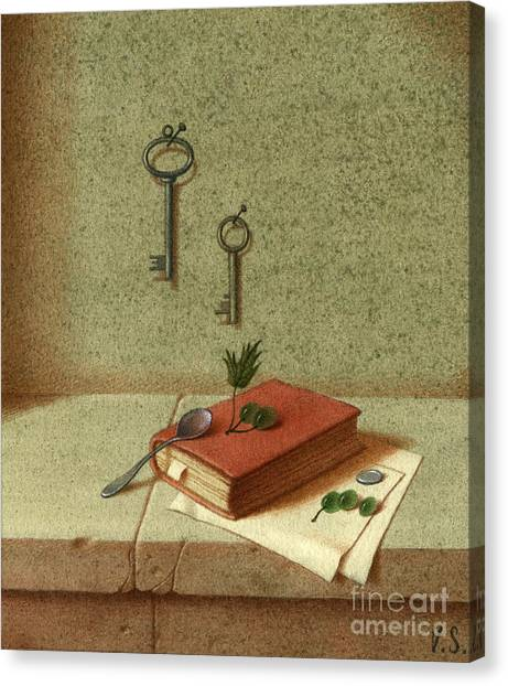 Still Life With A Small Book Canvas Print