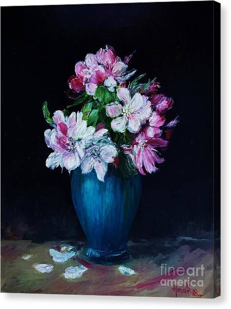 Still Life With Apple Tree Flowers In A Blue Vase Canvas Print