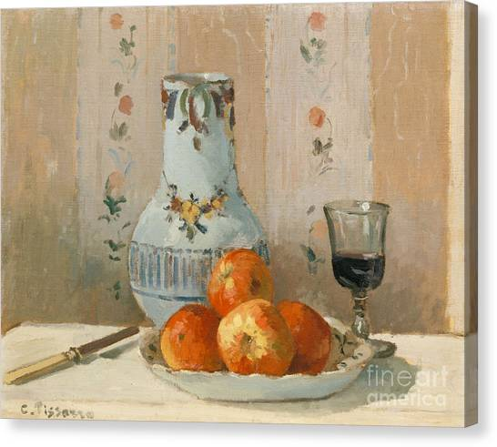 Camille Canvas Print - Still Life With Apples And Pitcher, 1872  by Camille Pissarro