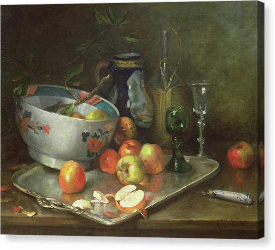 Peel Canvas Print - Still Life With Apples by Eugene Henri Cauchois