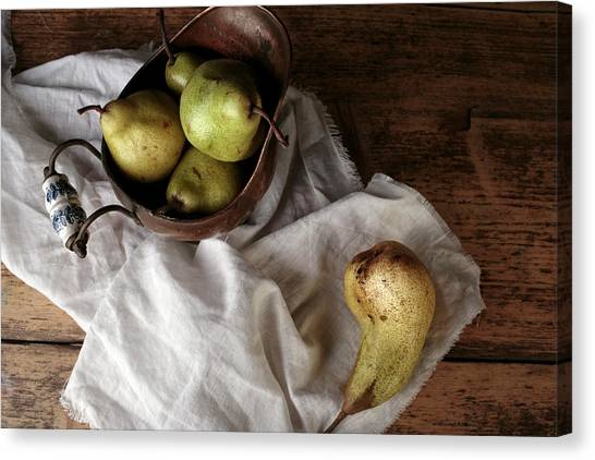 Weights Canvas Print - Still-life With Arrangement Of Pears  by Nailia Schwarz