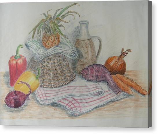 Still Life With Baby Pineapple Canvas Print by Geraldine Leahy