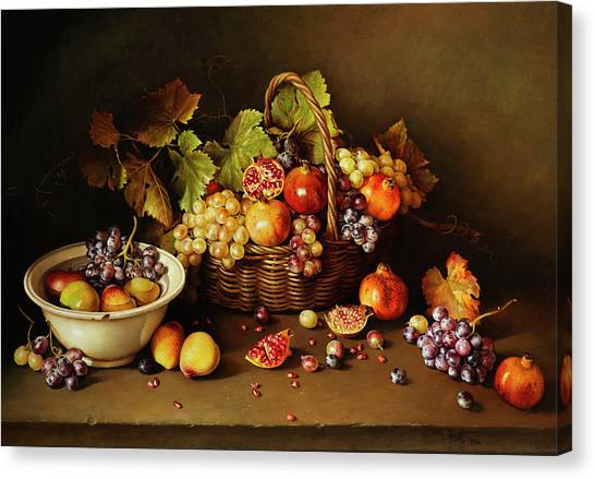 Peel Canvas Print - Still Life With Basket And Pomegranate by Jose Escofet