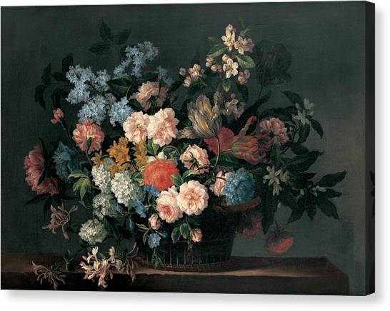 Daffodils Canvas Print - Still Life With Basket Of Flowers by Jean-Baptiste Monnoyer