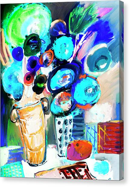 Still Life With Blue Flowers Canvas Print