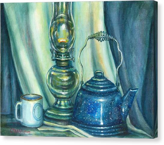 Still Life With Blue Tea Kettle Canvas Print by Colleen  Maas-Pastore