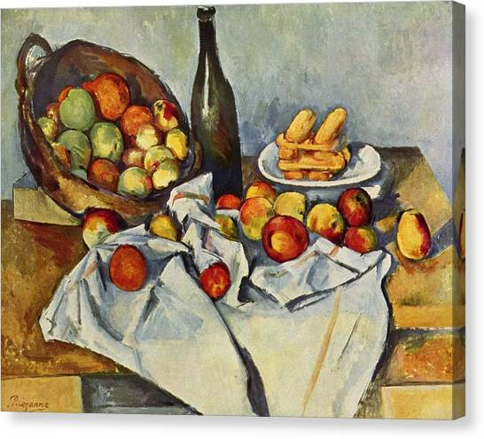 Still Life With Bottle And Apple Basket Canvas Print