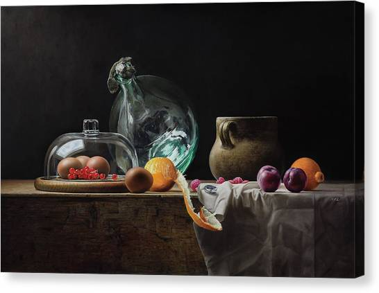 Mvc Canvas Print - Still Life With Bottle And Some Dust by Mark Van crombrugge