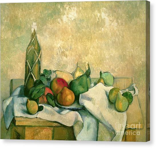 Mangos Canvas Print - Still Life With Bottle Of Liqueur by Paul Cezanne