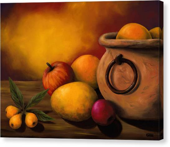 Still Life With Ceramic Pot Canvas Print by Enaile D Siffert