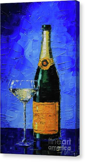 Champagne Canvas Print - Still Life With Champagne Bottle And Glass by Mona Edulesco