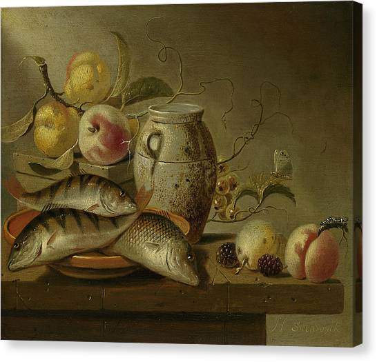 Still Life With Fish Canvas Print - Still Life With Clay Jug, Fish And Fruits by Harmen Steenwijck