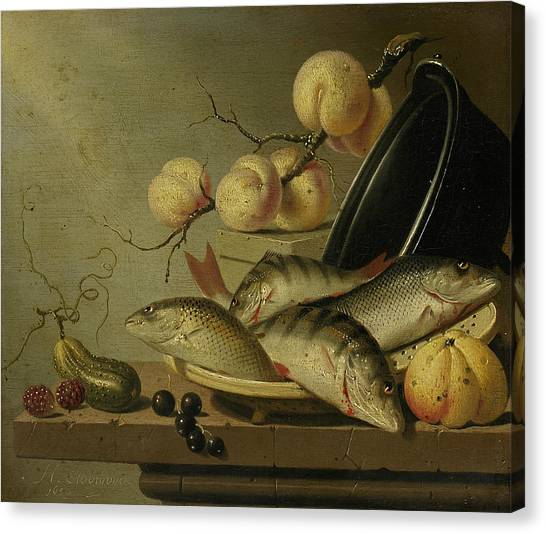 Still Life With Fish Canvas Print - Still Life With Fish And Fruits by Harmen Steenwijck