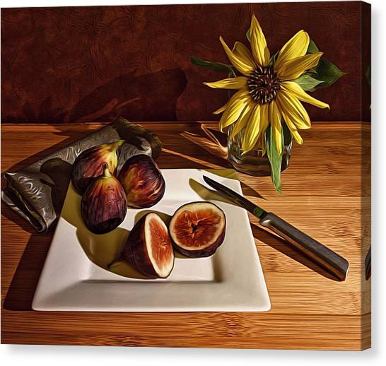 Still Life With Flower And Figs Canvas Print
