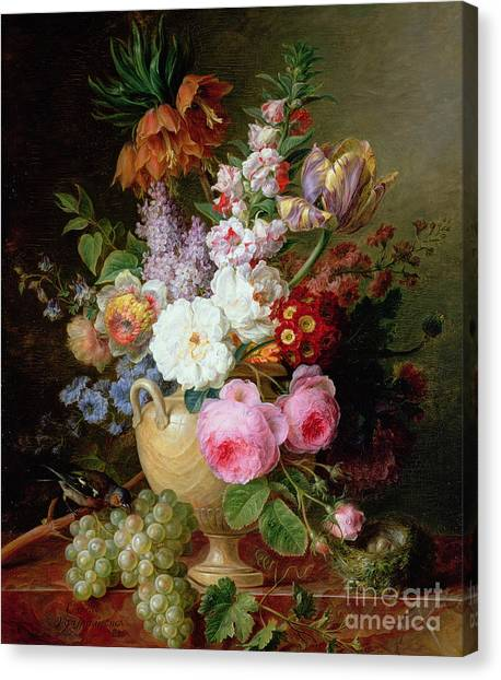Rose In Bloom Canvas Print - Still Life With Flowers And Grapes by Cornelis van Spaendonck